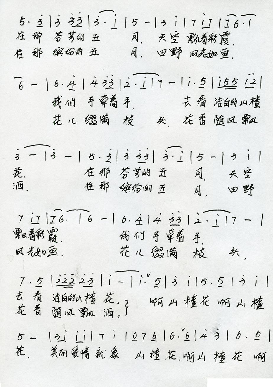 山楂花萨克斯简谱