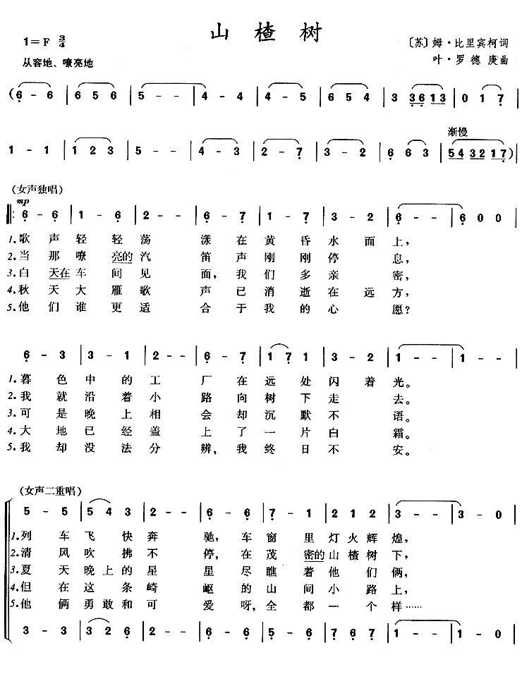 山楂树之恋钢琴伴奏和弦 山楂树の恋钢琴简谱图片